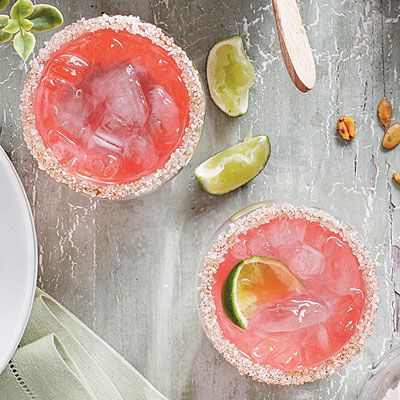 Pink Cadillac Margaritas | Mix up several batches of Pink Cadillac Margaritas 3 to 4 hours before the party starts, and chill in decorative bottles or pitchers, ready to shake and serve when guests arrive.