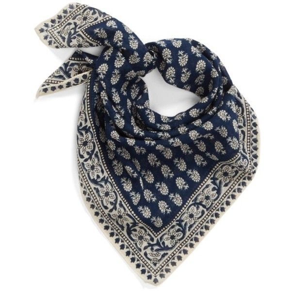 Madewell Print Cotton Scarf (45 BRL) ❤ liked on Polyvore featuring accessories, scarves, bengali indigo, patterned scarves, square cotton scarves, madewell, cotton scarves and square scarves