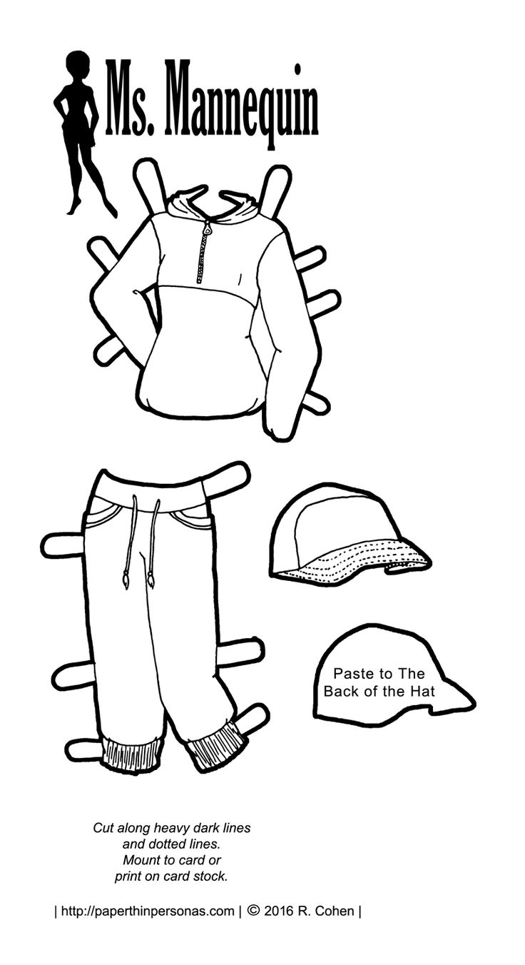 A paper doll outfit inspired by hip hop fashions featuring a blue windbreaker…
