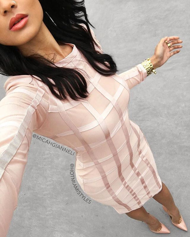 Pink Bandage Caged Dress by Hot Miami Styles