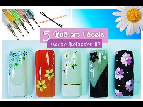 Tutorial 5 Decorações de unhas Fáceis usando Palito FLORES (iniciantes)#7 Aline Makelyne - YouTube