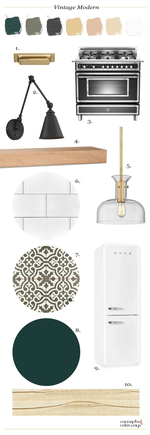 vintage modern farmhouse kitchen, white farmhouse kitchen ideas, vintage kitchen inspiration, interior styling, smeg refrigerator, natural wood floating shelf, dark hunter green, black and white patterned tile, gold pendant light, brass hardware, black adjustable wall sconce, vintage style gas range, black and stainless steel range