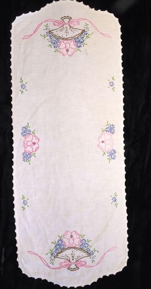 Vintage Embroidered Runner Pink Rose Basket Blue Flowers Crocheted Trim