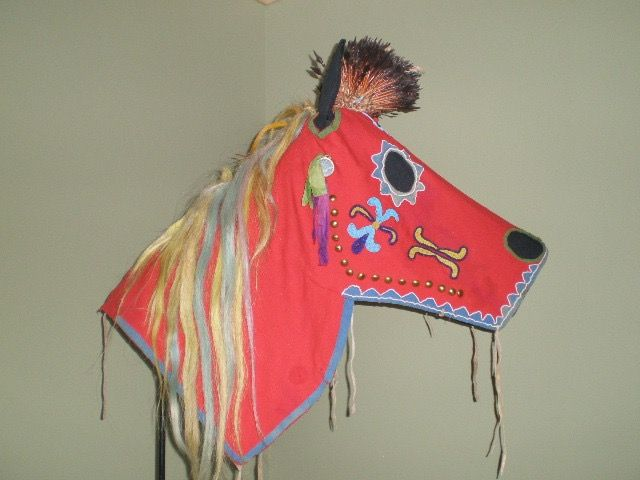 This Nez Perse horse mask is just one part of elaborate regalia for a horse. This mask is made of wool and decorated with paint, copper, feathers and abalone shell. It is part of the Thaw Collection of the New York State Historical Association and was conserved at Spicer Art Conservation.