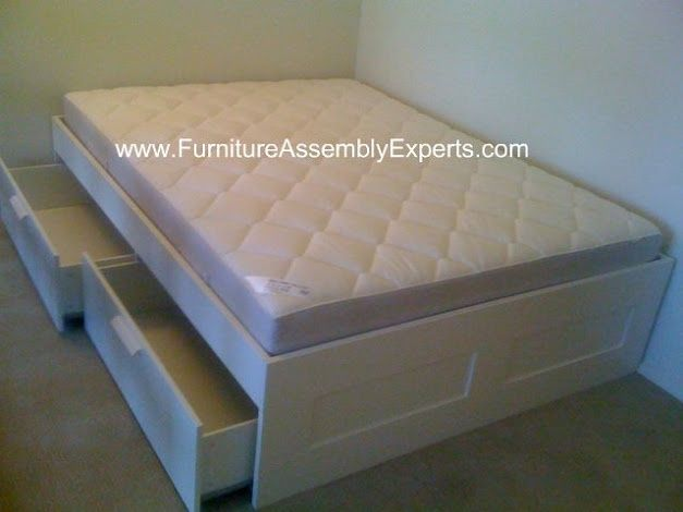 Ikea Brimnes Bed Frames With 4 Drawers Storage Assembled At Newseum Residences A Furniture Assembly Brimnes Bed Ikea Furniture Assembly