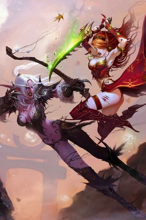 Night Elf Vs Blood Elf. Such a fantastic picture xD http://www.helpmedias.com/wow.php