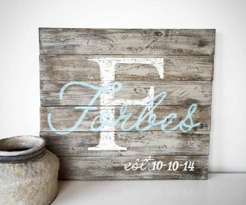 Monogram Script Wood Sign – 24×24 Paint this at Board and Brush! #boardandbrush #board&brush