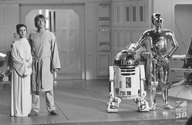 Publicity still of Carrie Fisher, Mark Hamill, Anthony Daniels in Star Wars: Episode V - The Empire Strikes Back