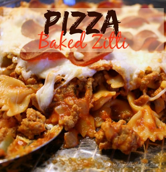 Pizza Baked Zitti at www.spindlesdesigns.com