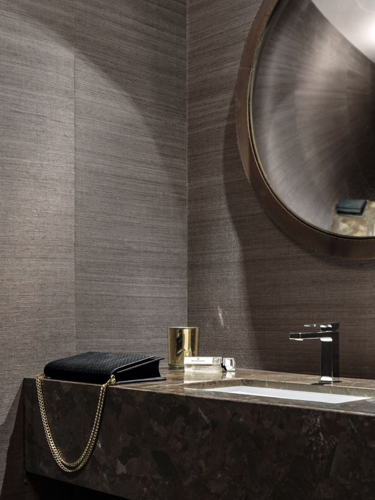 Interiors | alwill  #vanity #interiors #monochrome #bathroom #wallpaper #mirror #marble