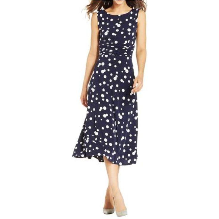 Jessica Howard Womens Polka Dot Shirred Wear to Work Dress
