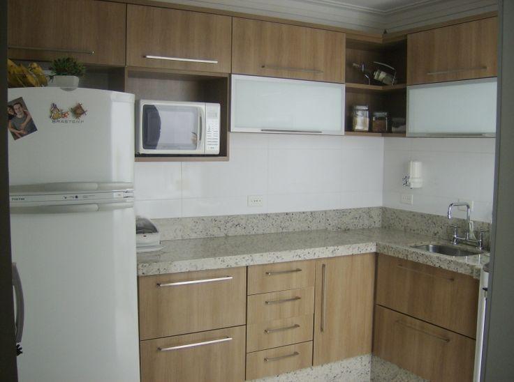 combinação de madeira e granito claro na cozinha  Kitchen  Pinterest  Made # Armario De Cozinha Planejado Em U