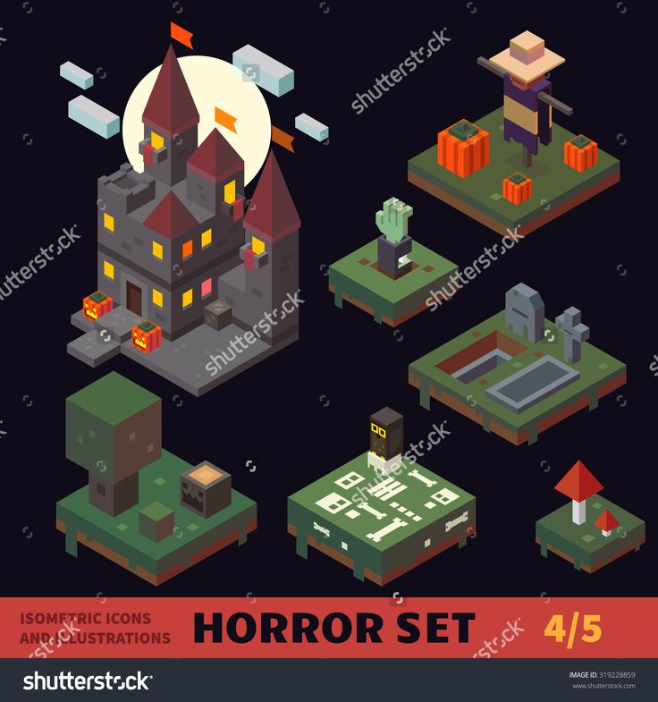 stock-vector-isometric-horror-vector-flat-tiles-and-objects-set-buildings-and-places-creepy-castle-graveyard-319228859.jpg (1500×1600)