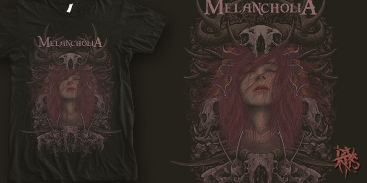 """Melancholia - Scarlet"" t-shirt design by RectopusArt"