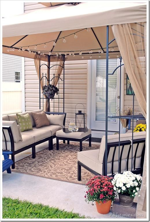 The Hampton Bay Arrow Gazebo creates some much-needed shade on this formerly hot and boring back patio. Now it is welcoming and the perfect spot to entertain! | From Pamela of PB&J Stories