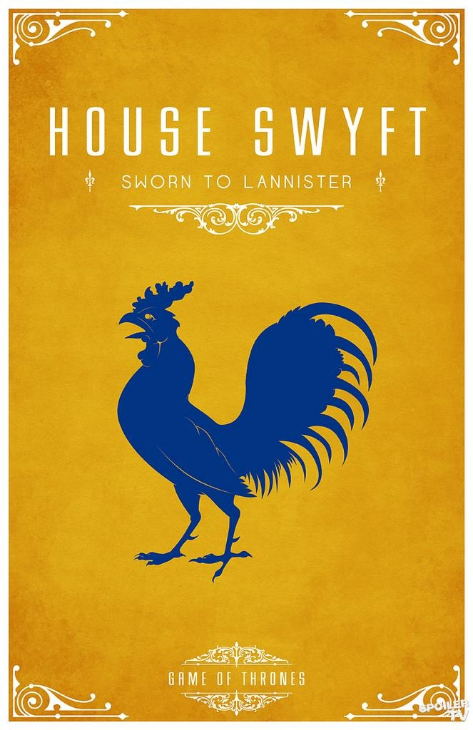 House Swyft. Game of Thrones house sigils by Tom Gateley. http://www.flickr.com/photos/liquidsouldesign/sets/72157627410677518/