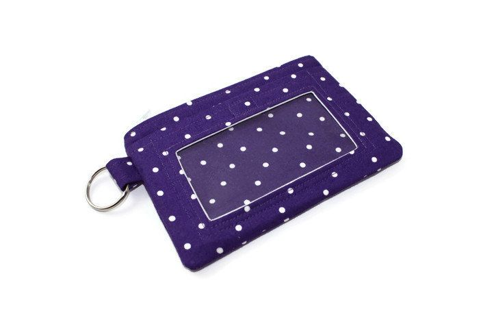Purple and White Polka Dot ID Wallet / Keychain ID Wallet / ID Holder - pinned by pin4etsy.com