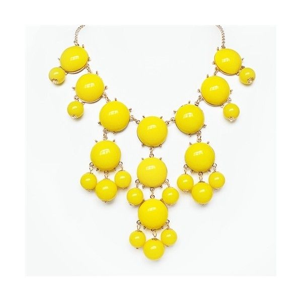 Yellow Bubble Necklace - gold chain bib necklace with dangling beads ($11) ❤ liked on Polyvore
