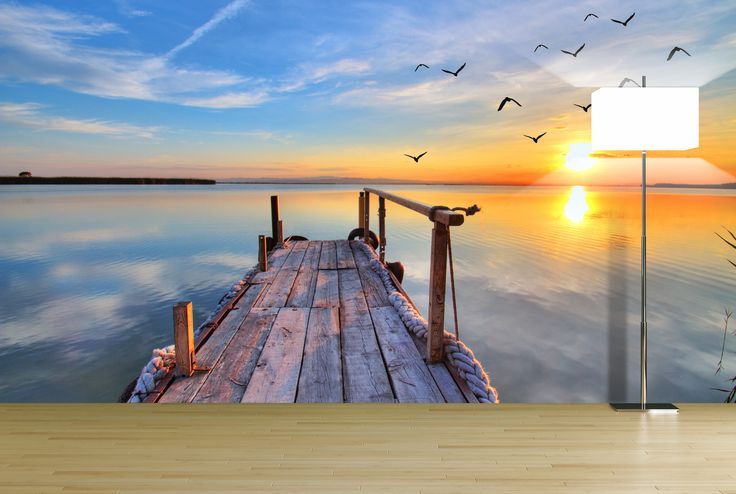Gorgeous sunset at the beach wall mural wall murals for Beach sunset mural