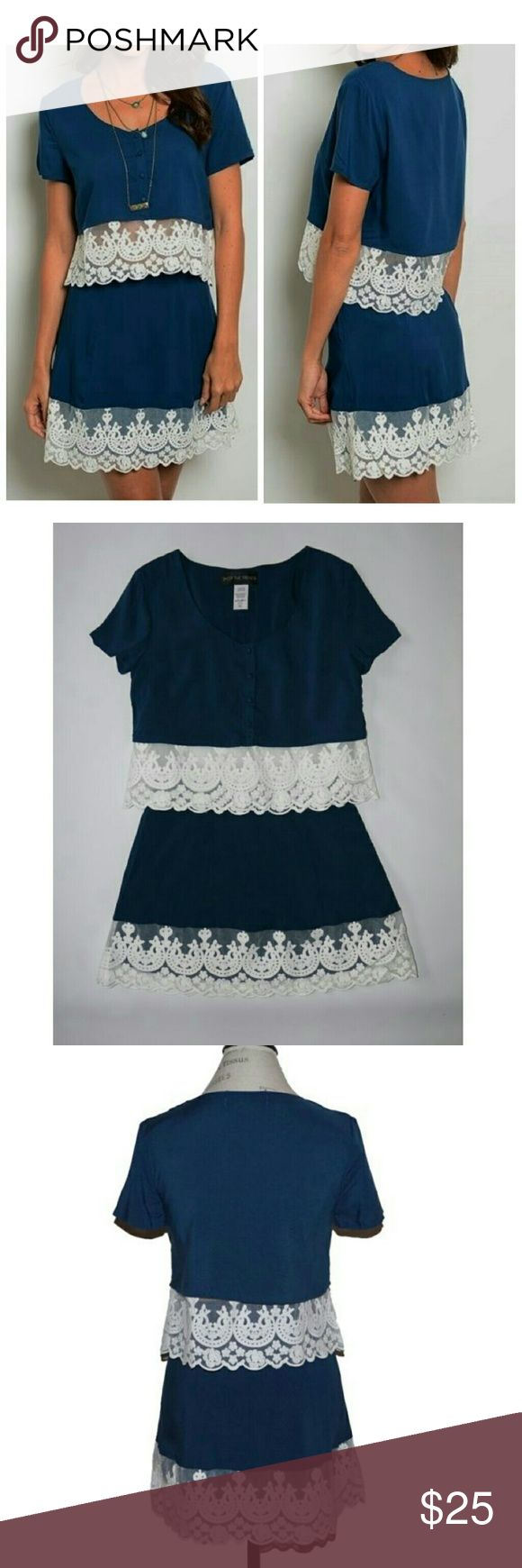 Lace hem skirt set blue white size medium Size m Boutique  Skirts Skirt Sets