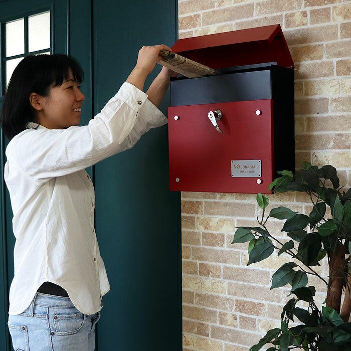 楽天市場 郵便ポスト 壁付け ポスト 壁掛けポスト 北欧 おしゃれ 鍵
