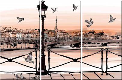 "Leinwandbild Illustration ""An der Seine"" (3-teilig)."