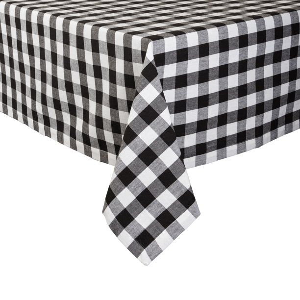 Design Imports Checkers Black White Tablecloth 52 X 52 Seats 4 Walmart Com Walmart Com