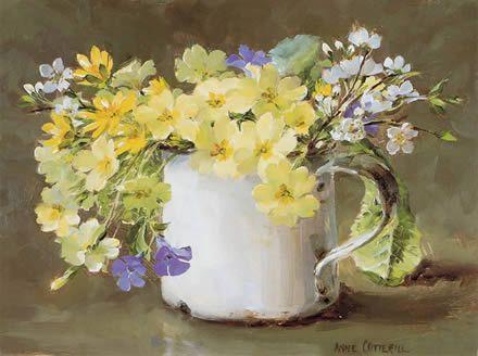 Spring Flowers in a White Mug