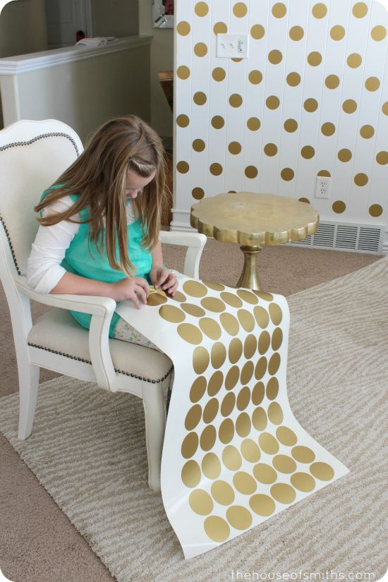 A Gold Polka Dot Accent Wall - maybe with a spa blue on the others? Order gold decals here!