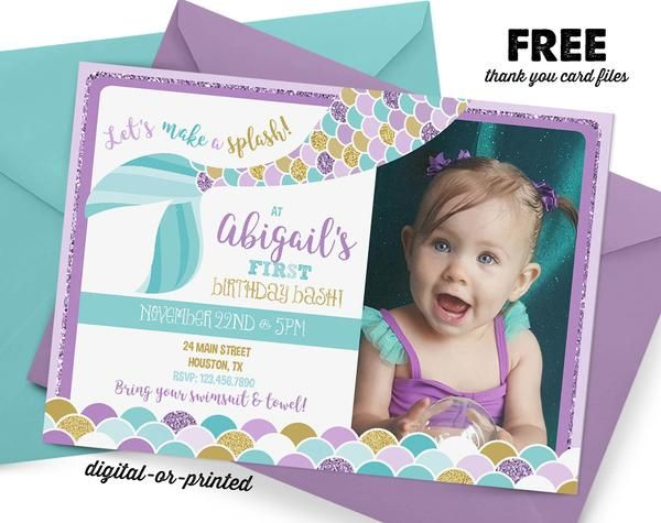 mermaid glitter Birthday Invitation, mermaid pool party invitation, mermaid birthday, party invitation printable, FREE thank you card All invitations produced b