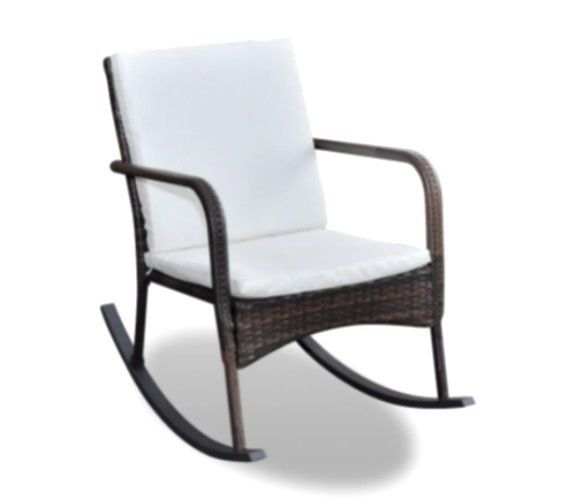 Rocking Chair Wicker Rattan Patio Furniture Outdoor Seat Brown With Cushions New #VXLFurniture #Contemporary