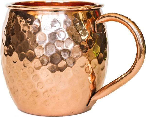100% Copper Mug for Moscow Mule - 16oz Hammered Barrel - BONUS Recipe - PureCopper