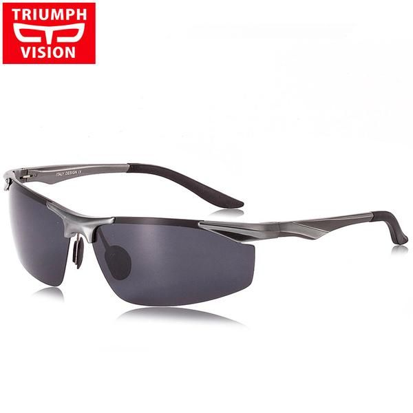 polarized Mens sunglasses aluminum magnesium frame car driving sunglasses men sports Blue grey