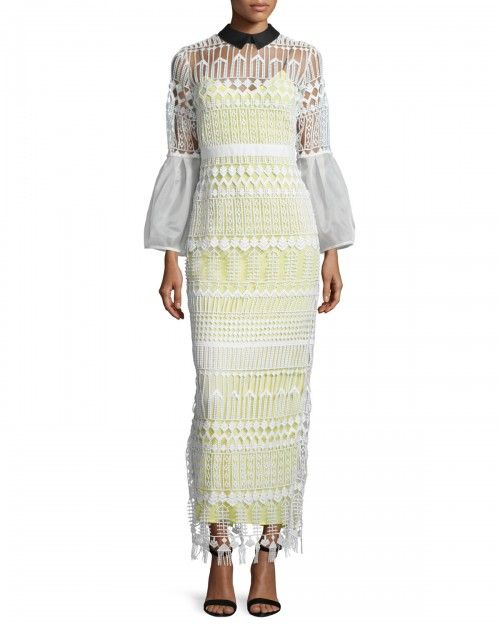 Self+Portrait+Long+Sleeve+Art+Deco+Lace+Maxi+Dress+White+2+|+Clothing
