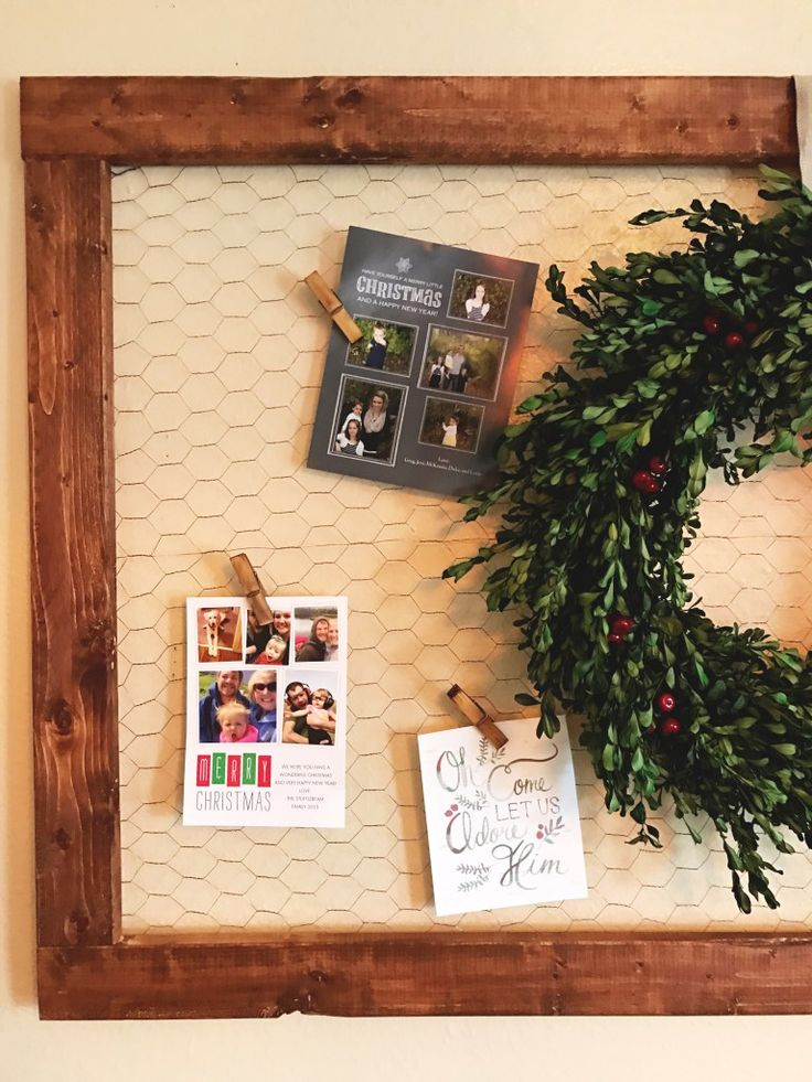 DIY- holiday card holder for under $15. Using chicken wire and stained wood.