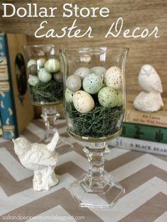 Dollar Store Easter Decor, would even be a good idea to use those colored eggs, if you are not hosting Easter at your home bring these with you for a centerpiece gift to hostest.