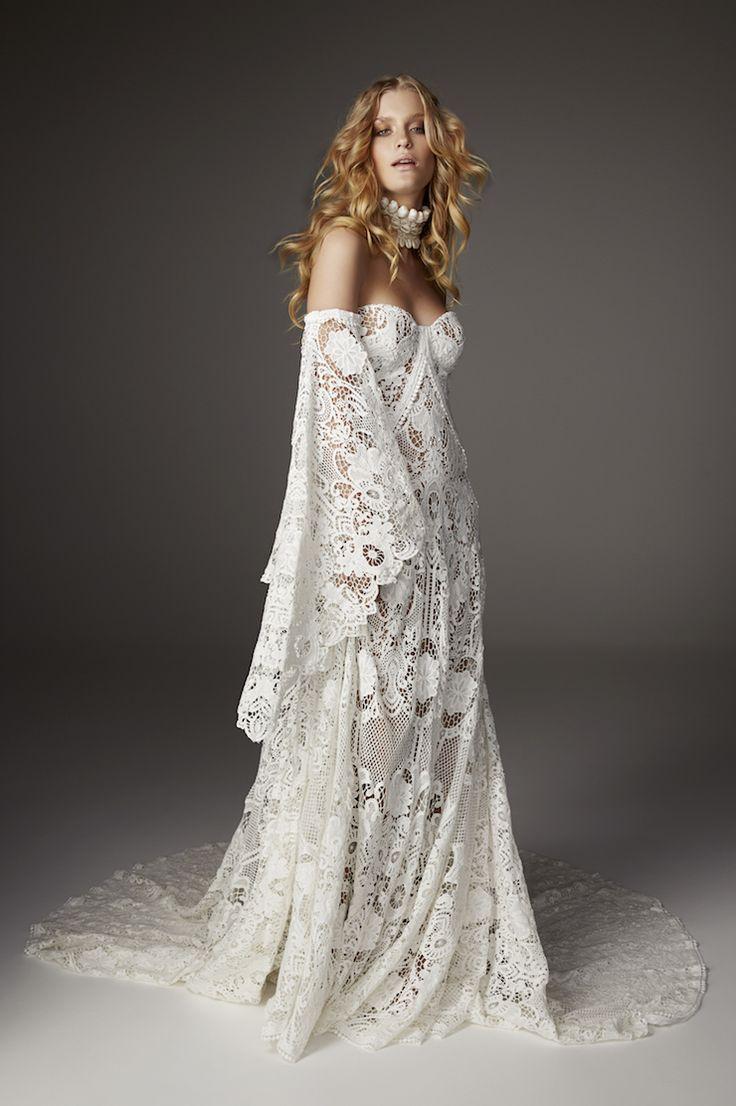 62 best images about rue de seine bridal on pinterest for Wedding dress bell sleeves