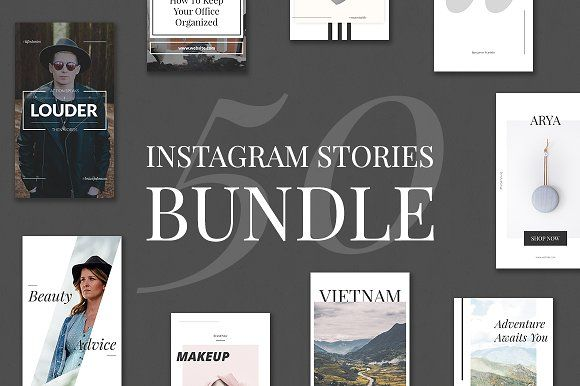 50 Instagram Stories Bundle by Web Donut on @creativemarket