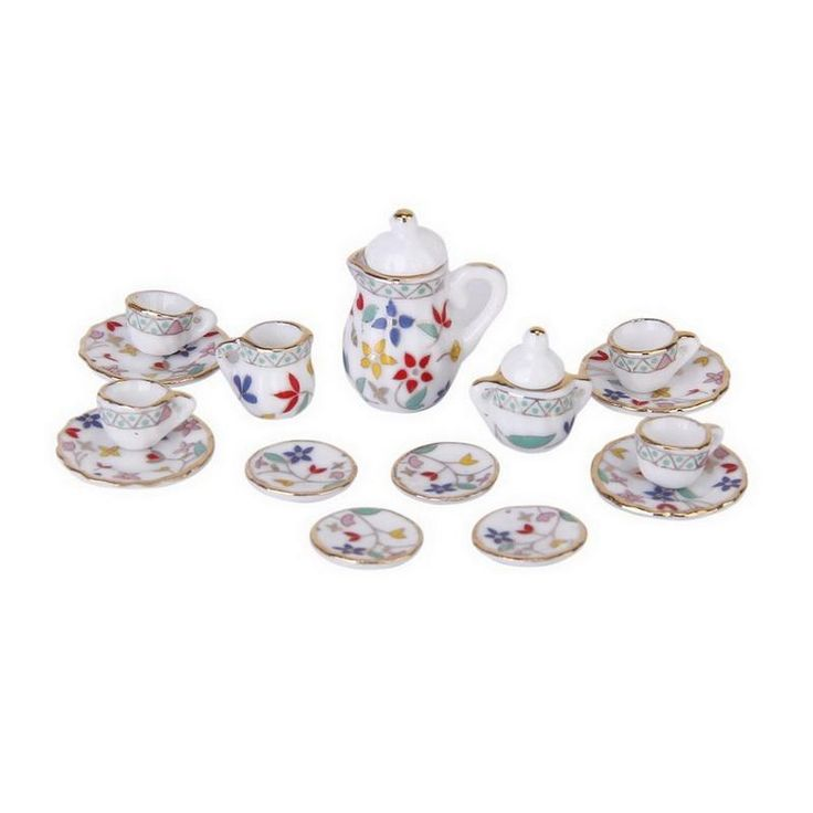15pcs/Set Dollhouse Miniature Dining Ware Porcelain