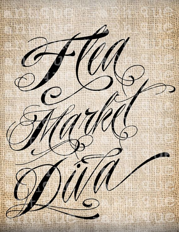 Antique Flea Market Diva Fancy Scroll Script Illustration Digital Download for Papercrafts, Transfer, Pillows, etc Burlap No. 3981