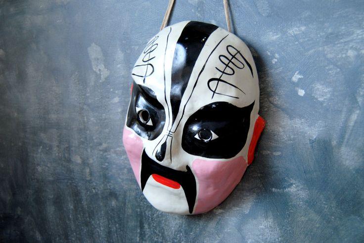 Kabuki Mask Vintage Painted Paper Mache Mask: Traditional Japanese Kabuki Costume Mask Asian Mask by Untried on Etsy
