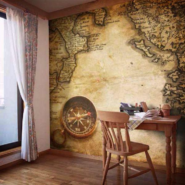 Adesivi Murali Boussole per decorare una parete #mappa #politica #adesivi #murali #vinile #deco #decorazione #muro #StickersMurali