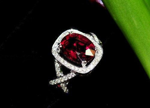 Engagement Ring   3 Carat Garnet Ring With by stevejewelry on Etsy, $895.00. In love w this!!