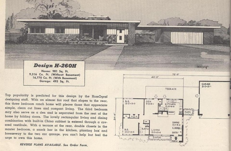 Vintage House Plans, 1950s Houses, Mid Century Houses ...