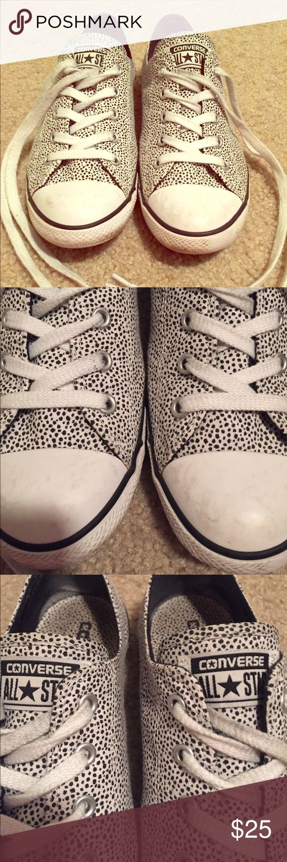 Lady Converse with Dots  Adorable low top ladies dainty style Converse. White with small black dots print. Light wear. Good condition. Size 8. Converse Shoes Sneakers