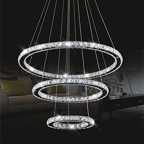 Kristall Deckenleuchte TOPMAX LED Pendelleuchte 305070cm 3 Ringe Chrom Kaltweiss