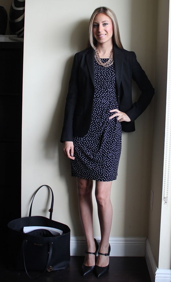 Polka dot dress, black blazer, pour la victoire pumps