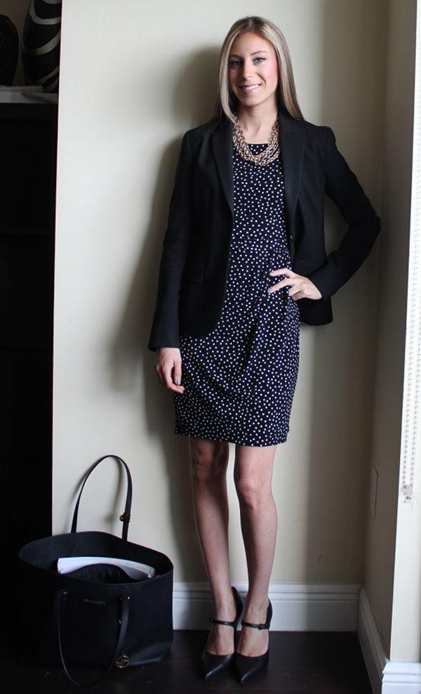 Polka dot dress, black blazer, pour la victoire pumps