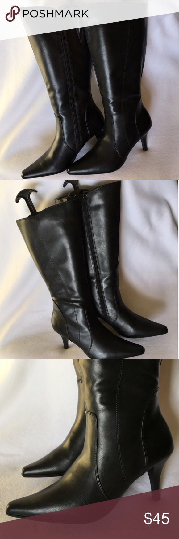 """NEW! Black Leather Knee-High Heel Boots Size 8 Black knee-high leather boots. NEW without box. Pointed toe. 3"""" heels. Side zippers. Ladies shoe size 8. 🌸 BUNDLE AND SAVE 10% 🌸 Vintage Shoes Heeled Boots"""