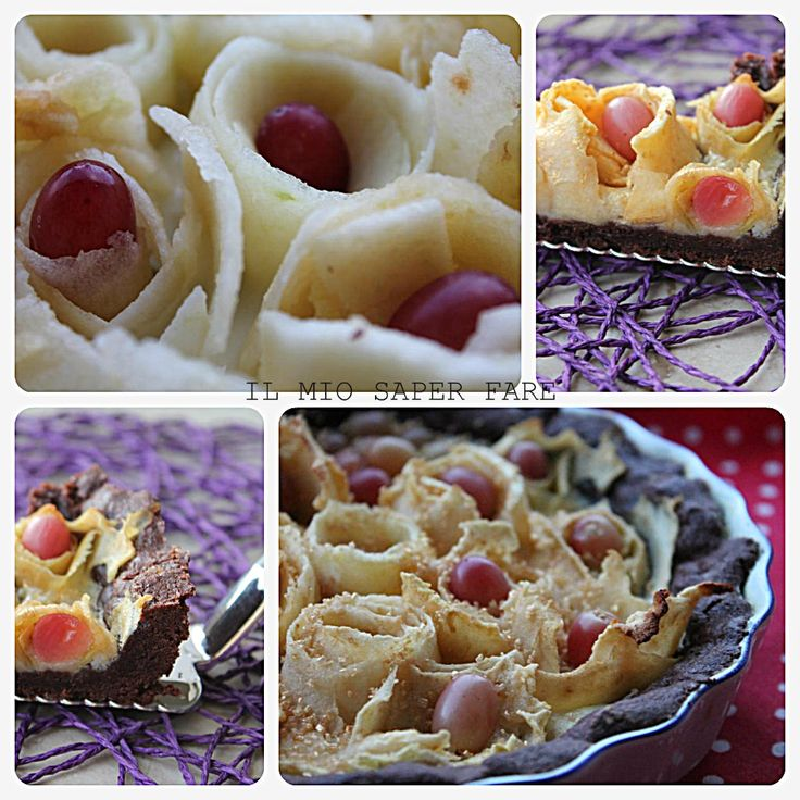Crostata al cacao ripiena di crema e rose di mele |ricetta semplice